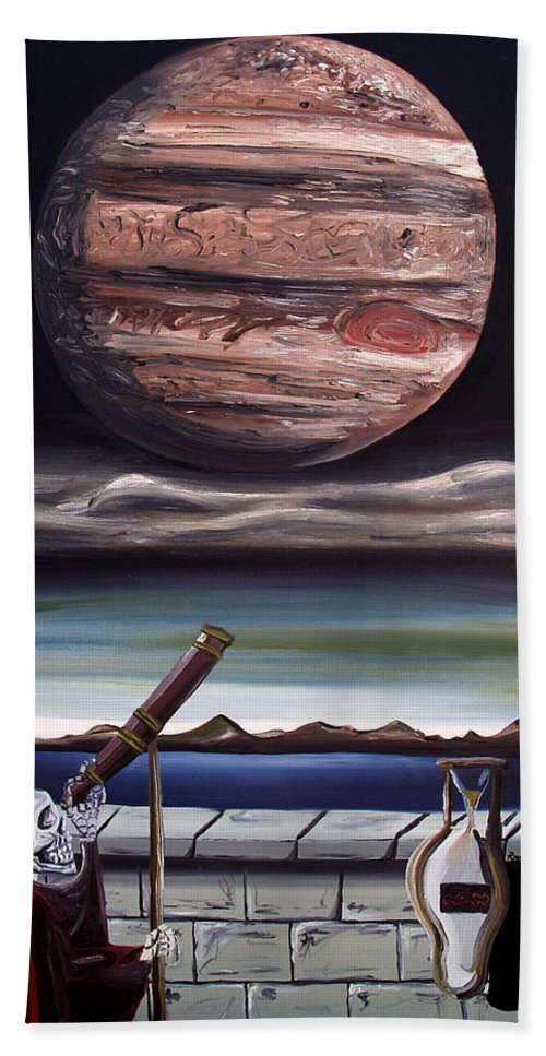 Surreal Beach Towel featuring the painting The Eternal Staring Contest by Ryan Demaree