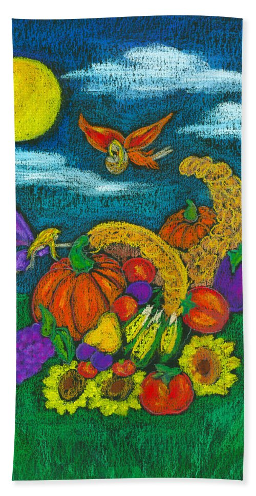Faery Shaman Beach Towel featuring the pastel The Harvest by Diana Haronis