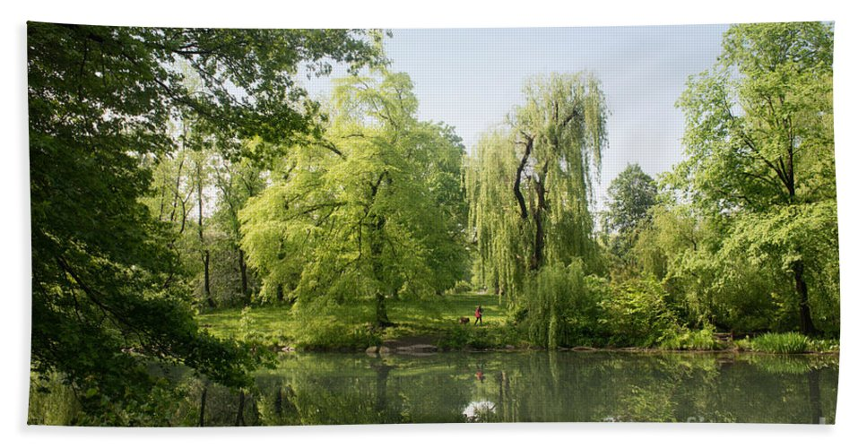 Central Park Beach Towel featuring the digital art The Pool Central Park by Carol Ailles