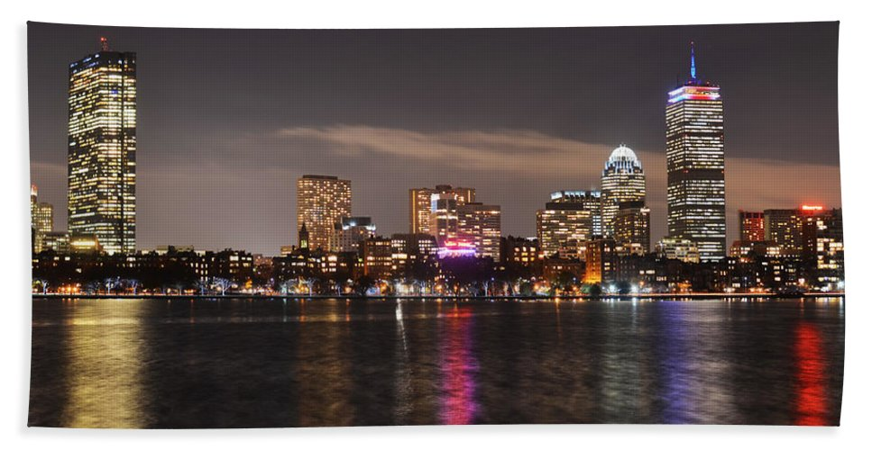 Boston Beach Towel featuring the photograph The Prudential Lit Up In Red White And Blue by Toby McGuire