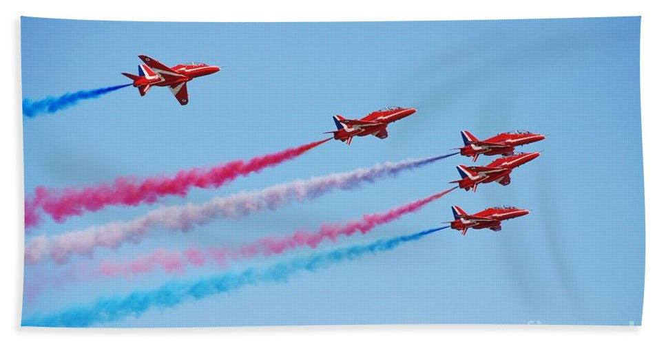 Red Beach Towel featuring the photograph The Red Arrows by David Fowler