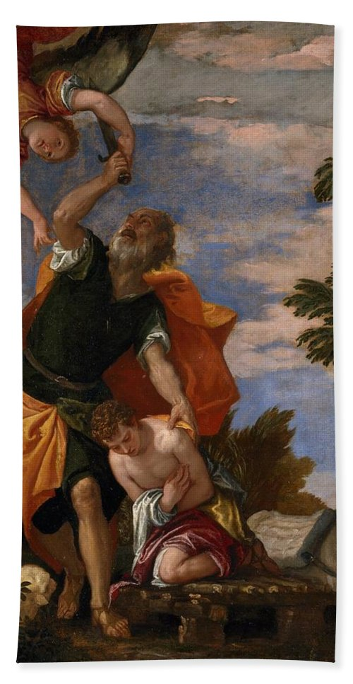 1586 Beach Towel featuring the painting The Sacrifice Of Isaac by Paolo Veronese