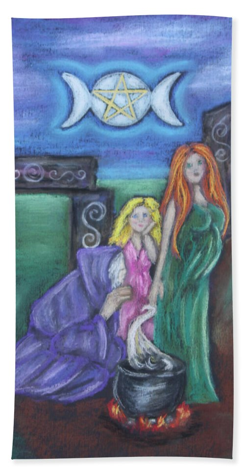 Faery Beach Towel featuring the pastel The Silvery Moon by Diana Haronis