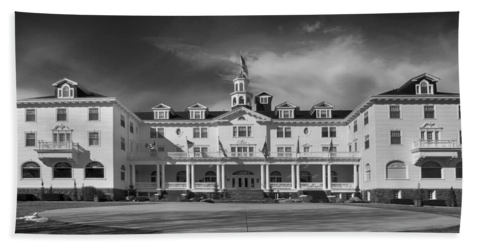 Stanley Hotel Beach Towel featuring the photograph The Stanley Hotel Panorama Bw by James BO Insogna