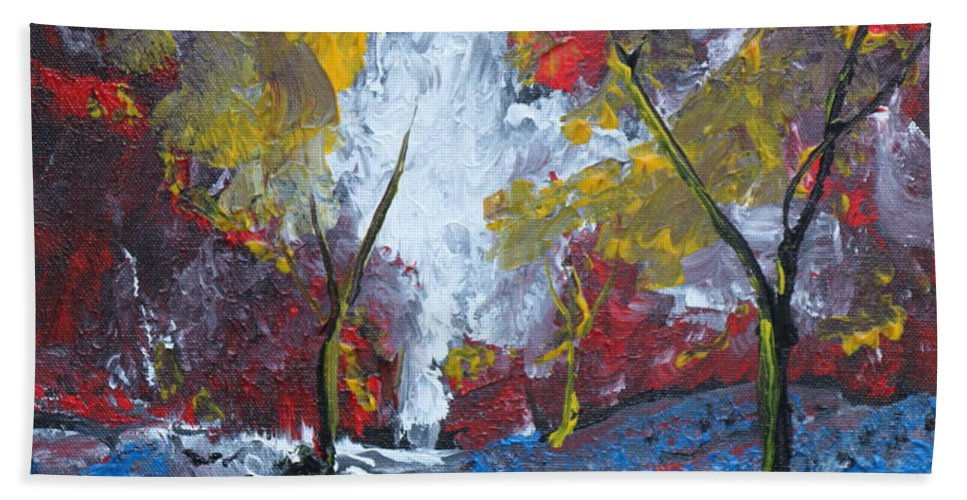 Landscape Beach Towel featuring the painting The Stream Of Light by Stefan Duncan