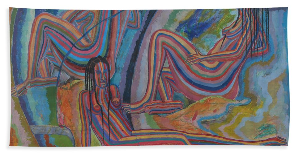 Johnpowell Beach Towel featuring the painting Three Graces by John Powell
