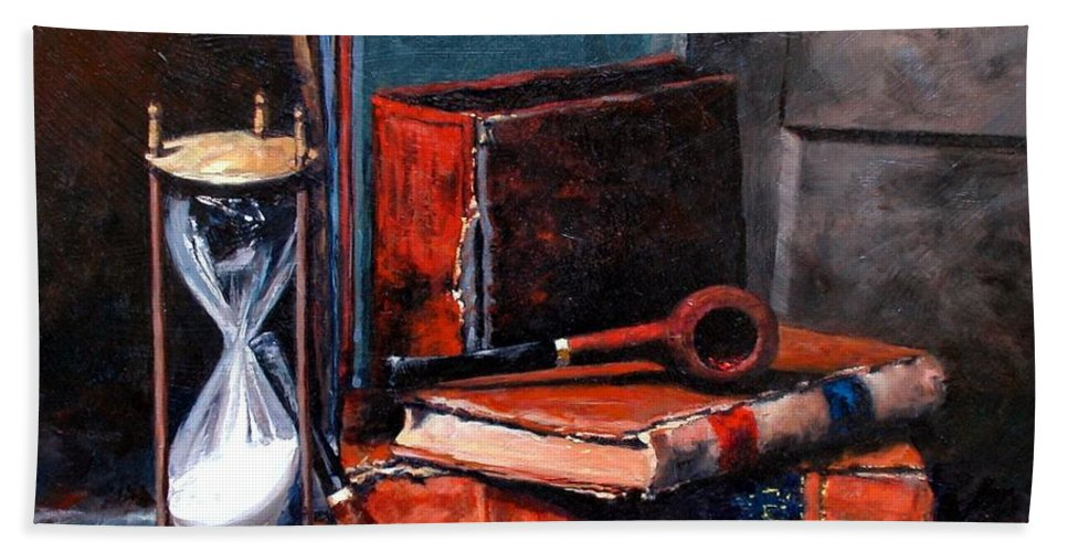 Still Life Beach Towel featuring the painting Time and Old Friends by Jim Gola