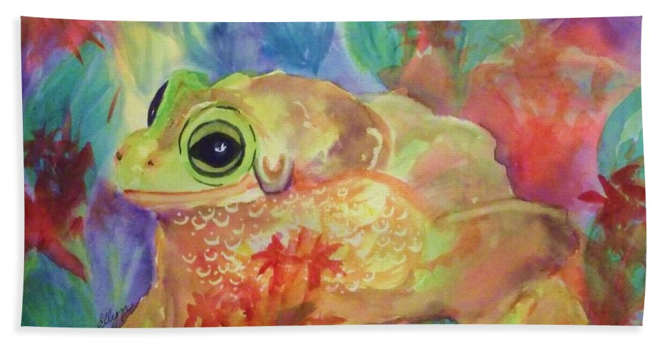 Frog Beach Towel featuring the painting Tree Frog In Tropical Splendor by Ellen Levinson