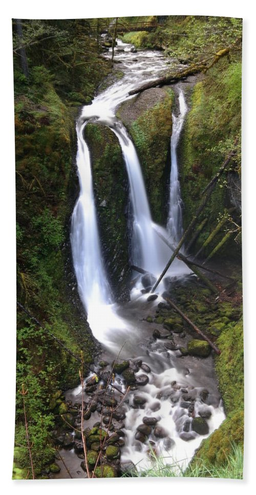 Waterfalls Beach Towel featuring the photograph Triple Falls by Jeff Swan