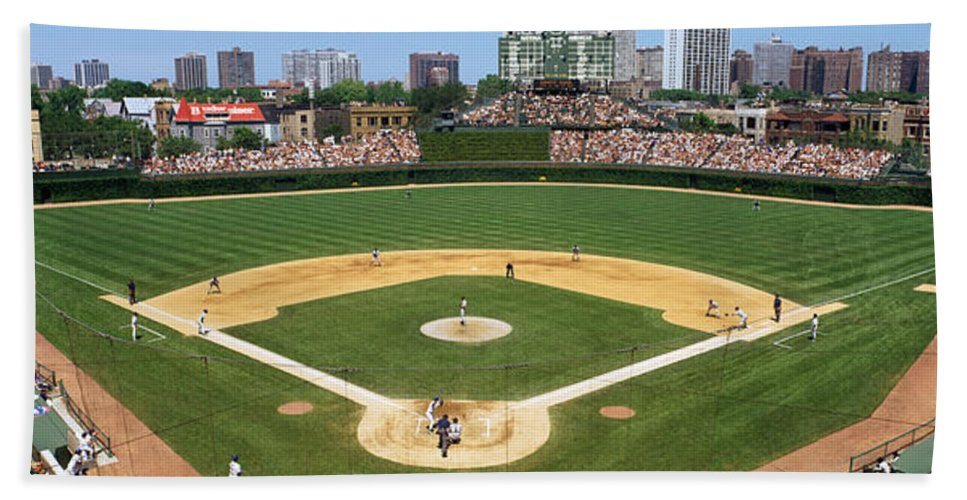 Photography Beach Towel featuring the photograph Usa, Illinois, Chicago, Cubs, Baseball by Panoramic Images
