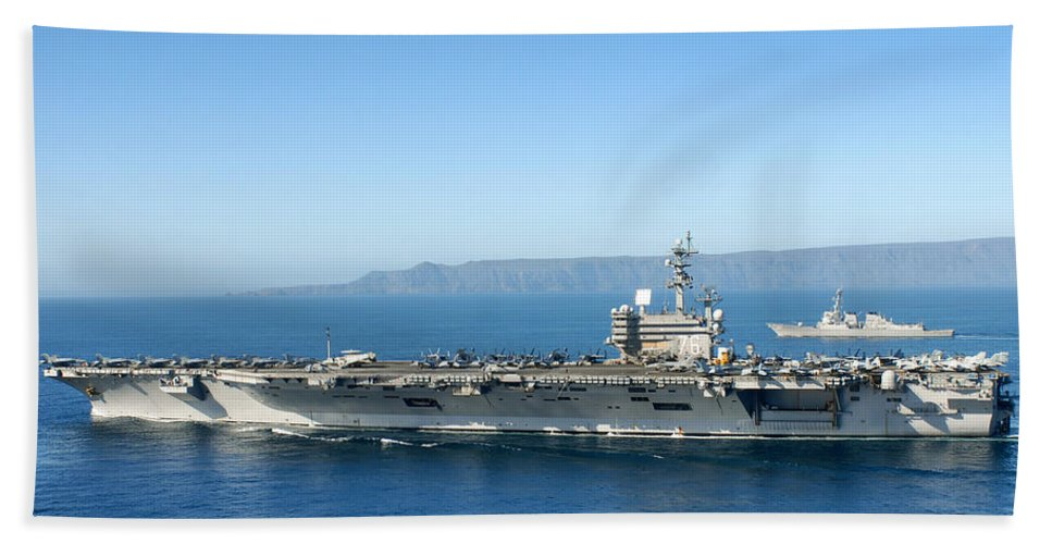 U.s. Navy Beach Towel featuring the photograph Uss Ronald Reagan by Mountain Dreams
