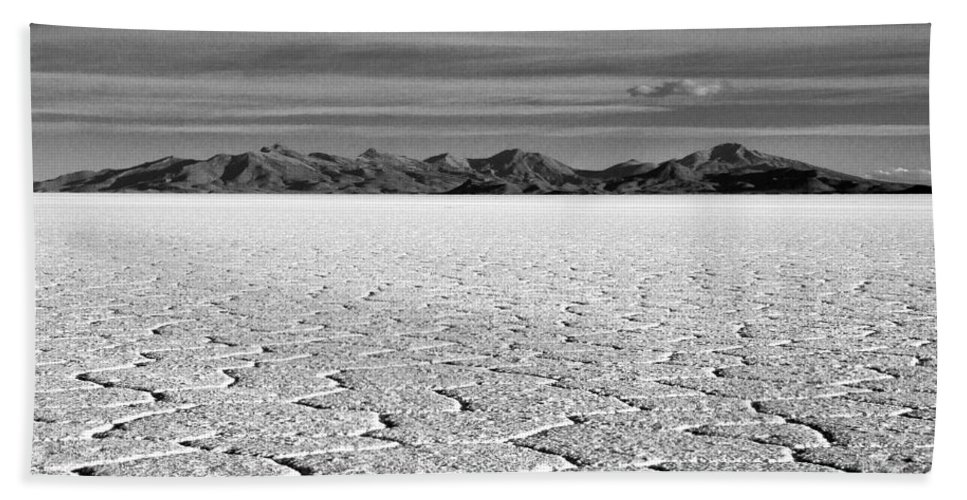Salt Flat Beach Towel featuring the photograph Uyuni Salt Falt Pattern by For Ninety One Days