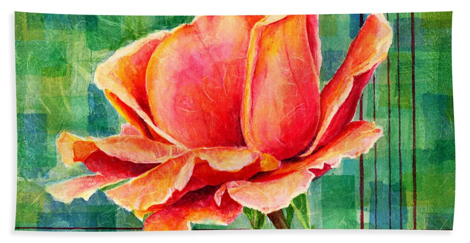 Rose Beach Towel featuring the painting Valentine Rose by Hailey E Herrera