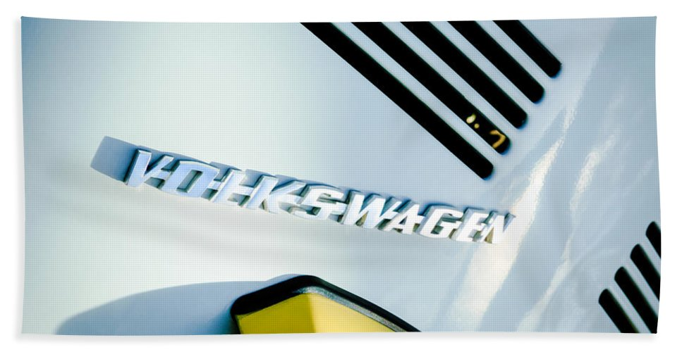 Volkswagen Vw Emblem Beach Towel featuring the photograph Volkswagen Vw Emblem by Jill Reger