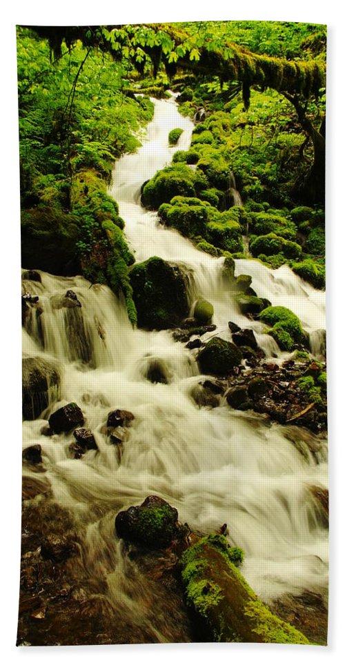 Rivers Beach Towel featuring the photograph Wahkeena Creek by Jeff Swan