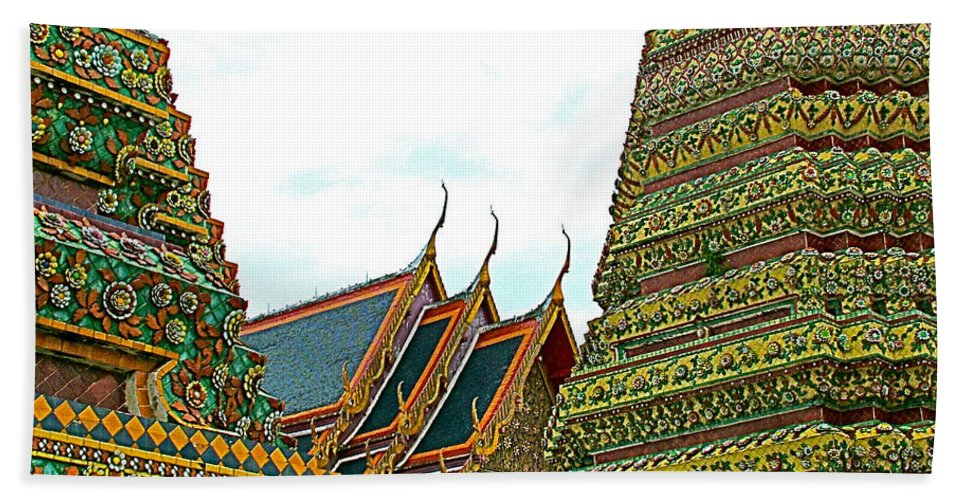 Wat Po In Bangkok Beach Towel featuring the photograph Wat Po In Bangkok-thailand by Ruth Hager