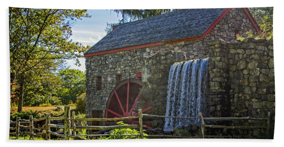 Grist Mill Beach Towel featuring the photograph Wayside Inn Grist Mill by Donna Doherty