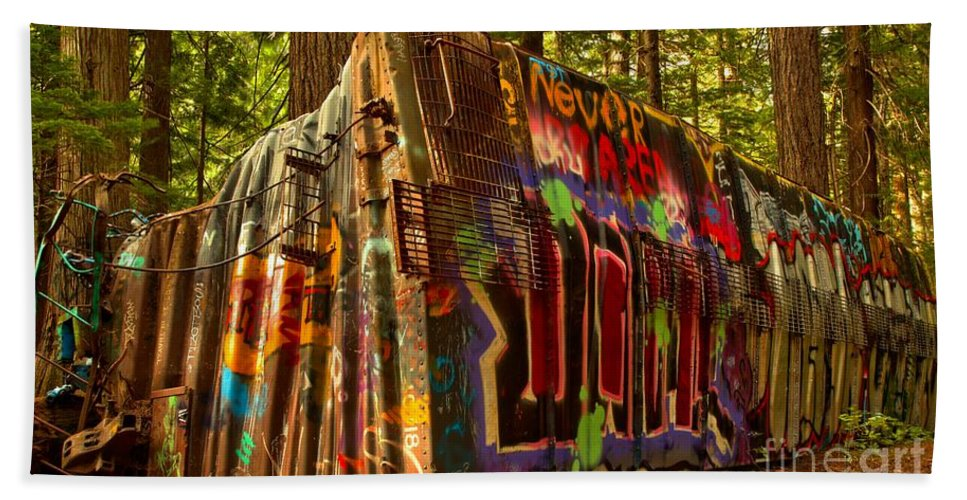 Train Wreck Beach Towel featuring the photograph Whistler Train Derailment Box Car by Adam Jewell