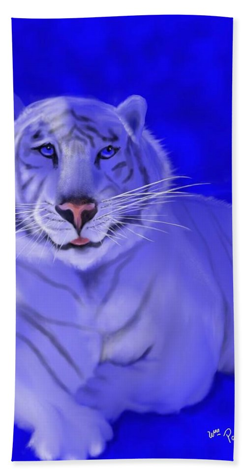 Tiger Beach Towel featuring the mixed media White by William Paul Marlette