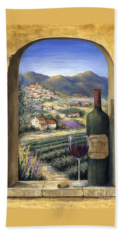Wine Beach Towel featuring the painting Wine and Lavender by Marilyn Dunlap