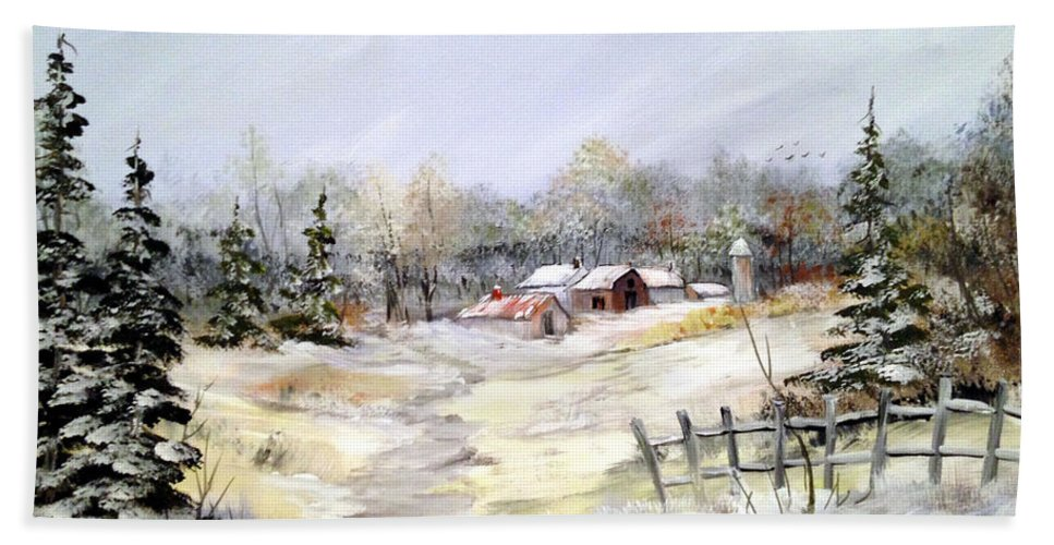 Winter Scene Beach Towel featuring the painting Winter At The Farm by Dorothy Maier