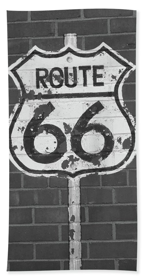 66 Beach Towel featuring the photograph Route 66 Shield by Frank Romeo