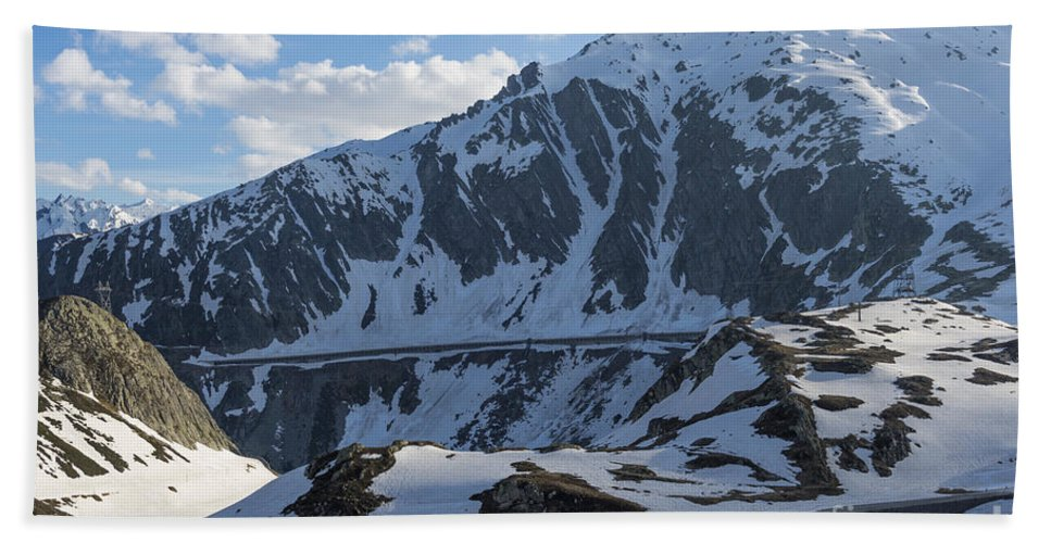 Snow-capped Beach Towel featuring the photograph Swiss Alps by Mats Silvan