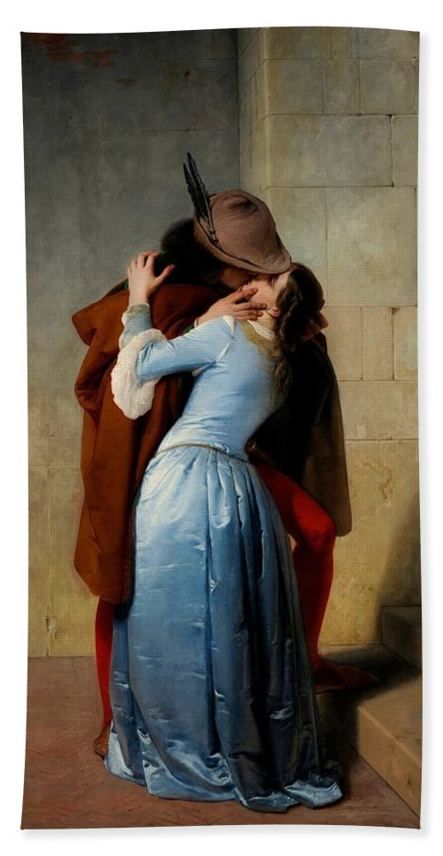 Lovers Beach Towel featuring the painting The Kiss by Francesco Hayez