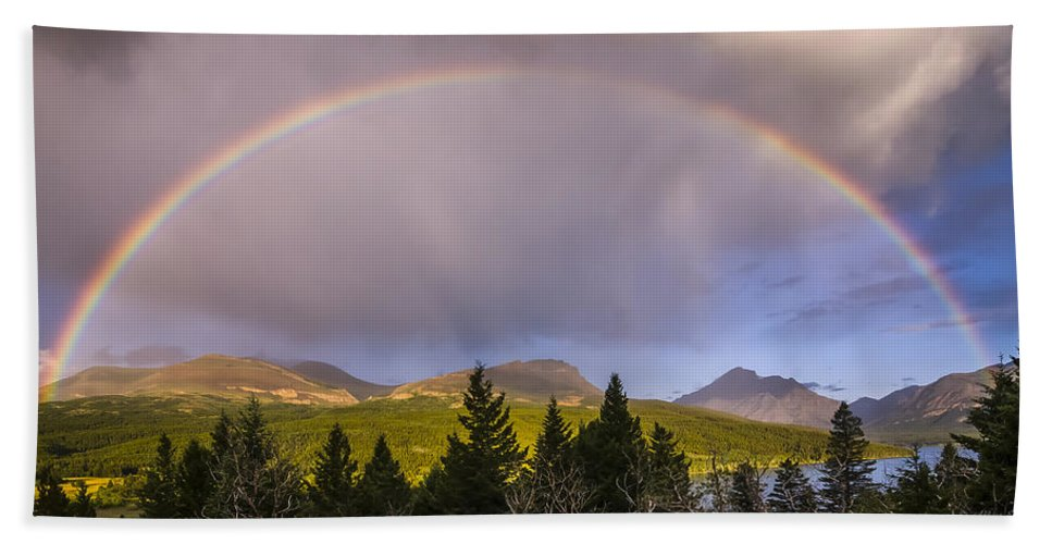 Glacier National Park Beach Towel featuring the photograph 100801a-14 Two Medicine Rainbow by Albert Seger