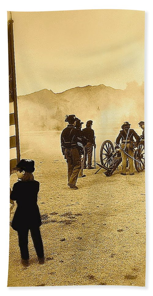 100th Anniversary Of Deactivation Ft. Lowell Tucson Arizona 1991 Toned 2008 Beach Towel featuring the photograph 100th Anniversary Of Deactivation Ft. Lowell Tucson Arizona 1991 Toned 2008 by David Lee Guss
