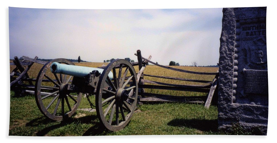 Gettysburg Beach Towel featuring the photograph 10th Mass Battery - Gettysburg by Tommy Anderson