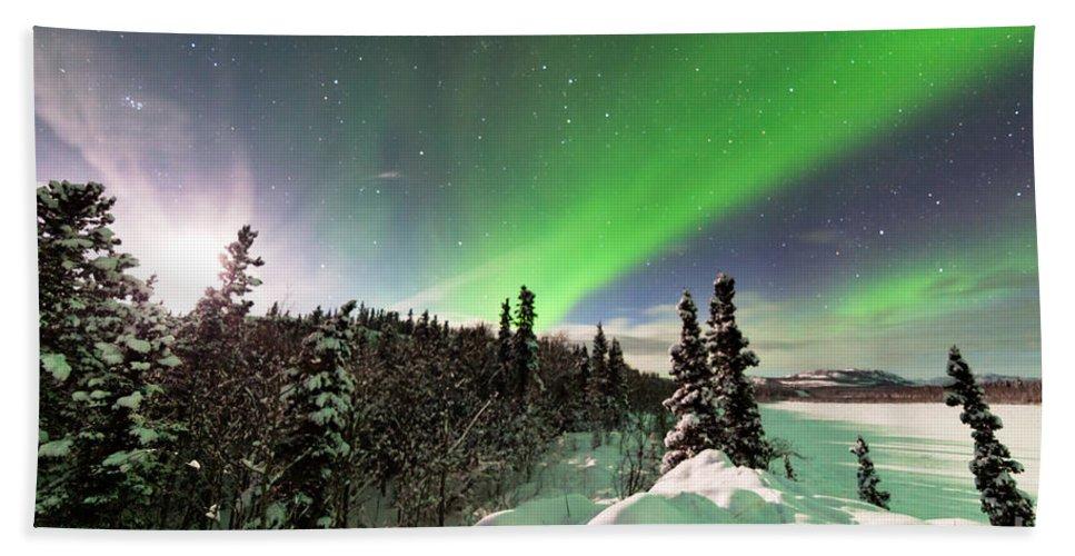 Alaska Beach Towel featuring the photograph Intense Display Of Northern Lights Aurora Borealis by Stephan Pietzko