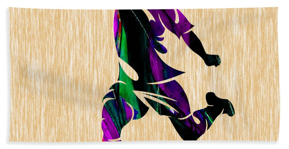 Soccer Beach Towel featuring the mixed media Soccer by Marvin Blaine