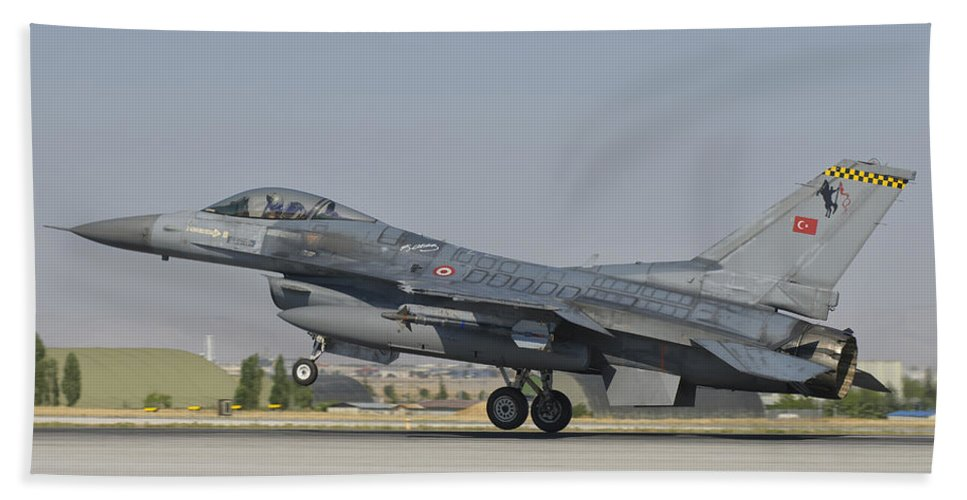 Horizontal Beach Towel featuring the photograph Turkish Air Force F-16 During Exercise by Giovanni Colla