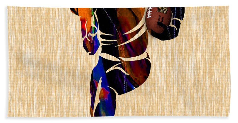Football Beach Towel featuring the mixed media Football by Marvin Blaine