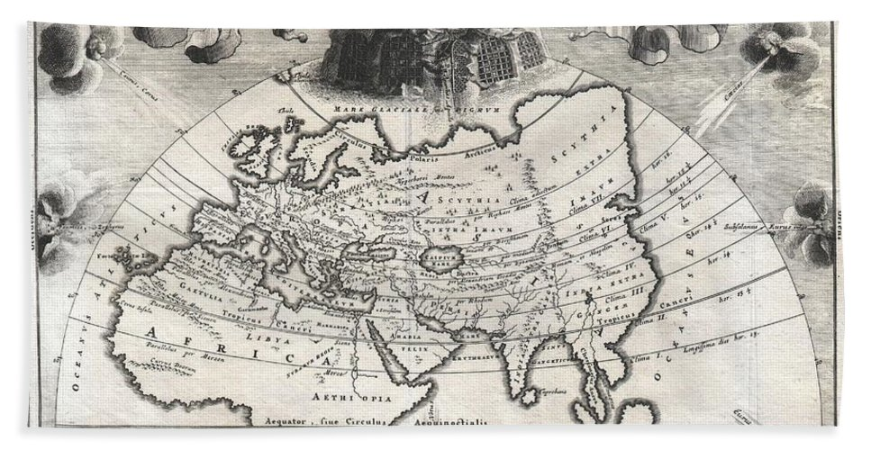 A Rare And Beautifully Engraved Map Of The Old World Divided Into Seven Climatic Zones According To The Ancient Greek Geographer Strabo. Depicts Europe Beach Towel featuring the photograph 1700 Cellarius Map Of Asia Europe And Africa According To Strabo by Paul Fearn