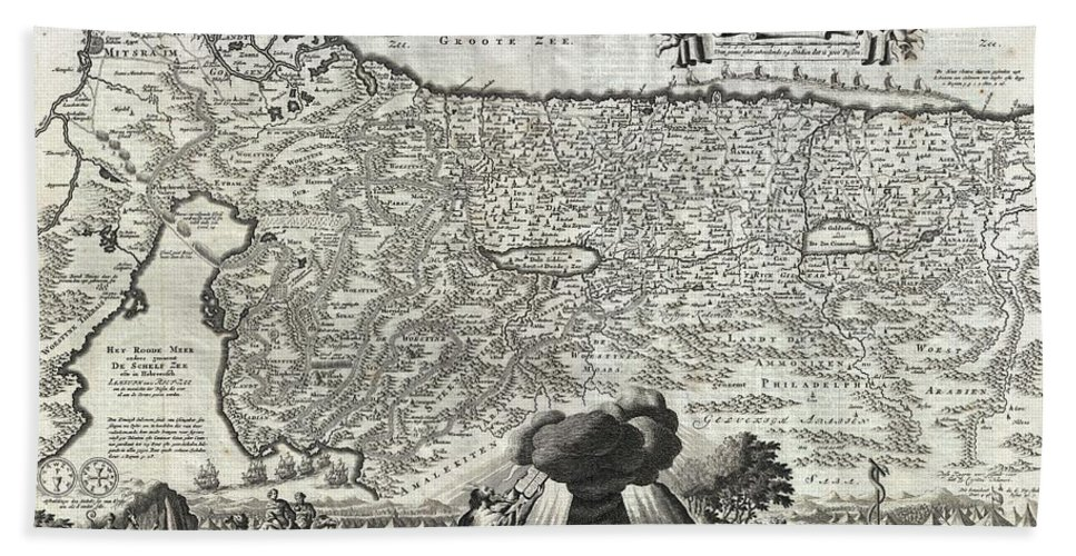 An Absolutely Stunning 1702 Map Of The Holy Land Beach Towel featuring the photograph 1702 Visscher Stoopendaal Map Of Israel by Paul Fearn