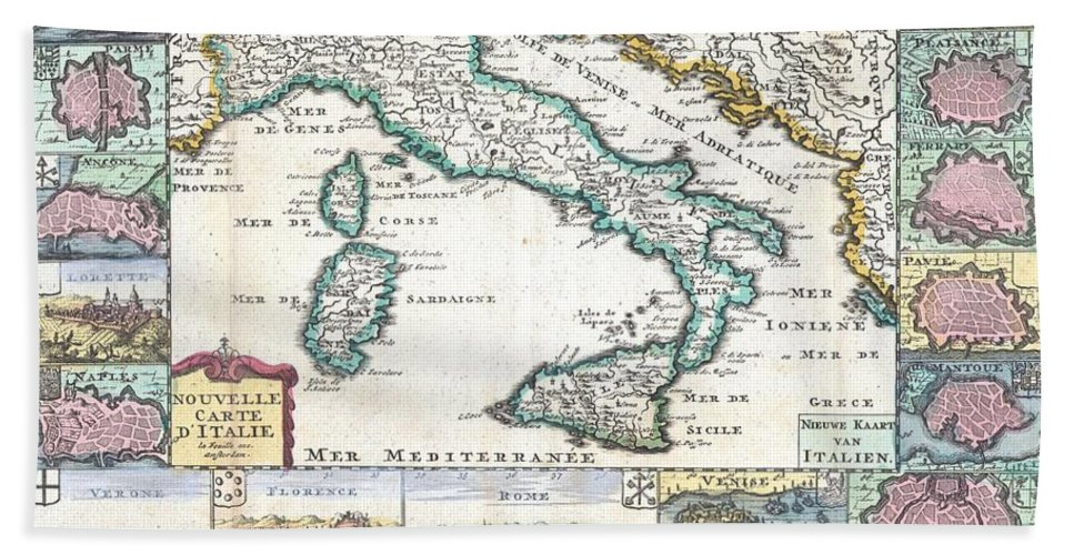 A Very Scarce Beach Towel featuring the photograph 1706 De La Feuille Map Of Italy by Paul Fearn