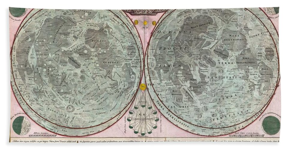 A Stunning Full Color Example Of J. B. Homann And Johann Gabriel Doppelmayr's Important C. 1742 Map Of The Moon. Essentially A Comparative Chart Beach Towel featuring the photograph 1707 Homann And Doppelmayr Map Of The Moon by Paul Fearn