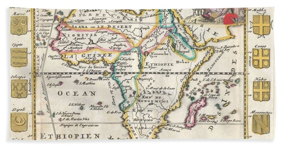 A Very Scarce Beach Towel featuring the photograph 1710 De La Feuille Map Of Africa by Paul Fearn