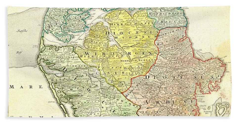 This Is A Historically Important And Spectacular 1710 Homann Map Part Of Denmark. Formally Titled Tabula Generalis Iutiae. Features A Decorative Title Cartouche Including Poseidon And Others. Johann Baptist Homann (1663-1724) Beach Towel featuring the photograph 1710 Homann Map Of Denmark by Paul Fearn