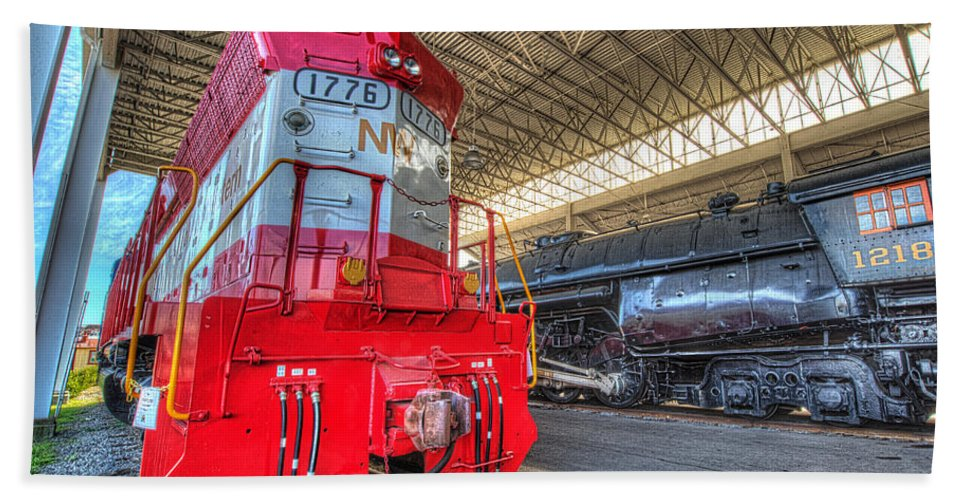 Historic Beach Towel featuring the photograph 1776 And 1218 Locomotives Norfolk And Western by Greg Hager