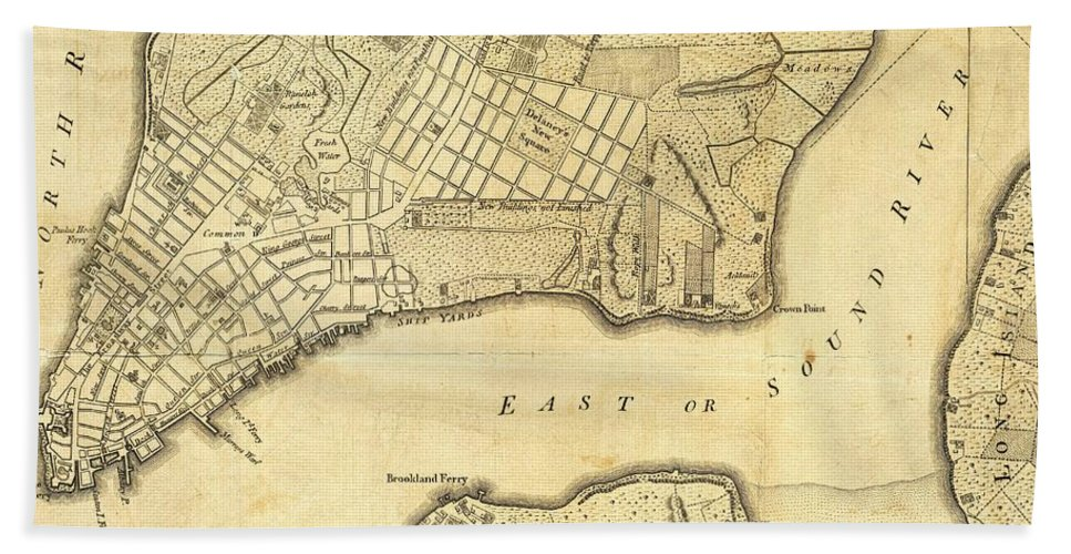1776 New York City Map Beach Towel featuring the mixed media 1776 New York City Map by Dan Sproul