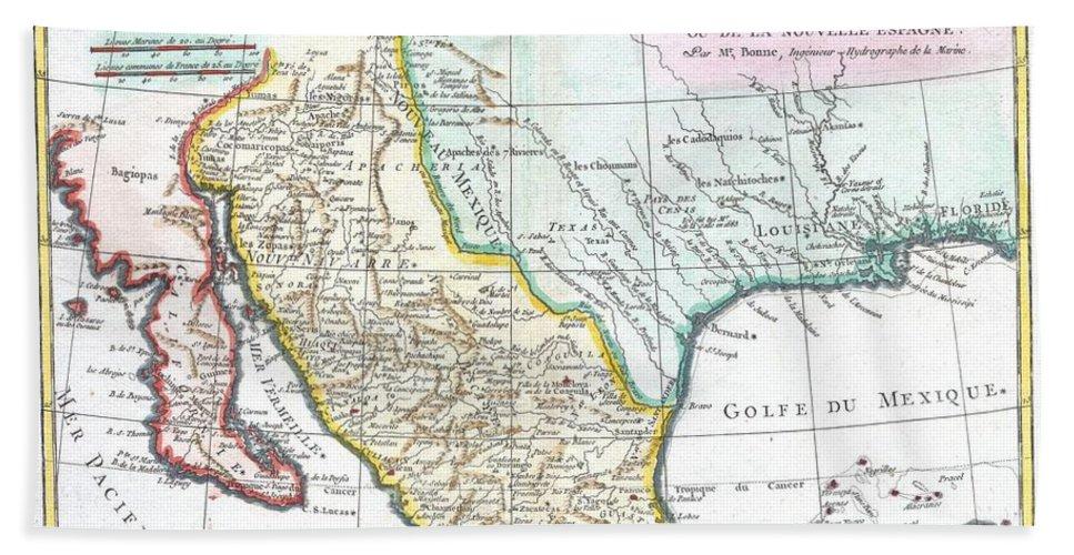 Map Of Texas Louisiana.1780 Bonne Map Of Texas Louisiana And New Mexico Beach Towel