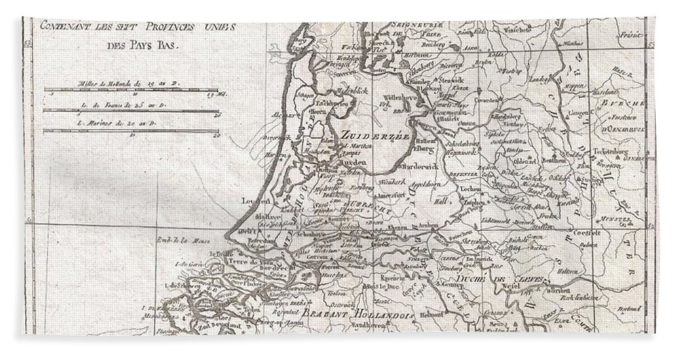 A Fine Example Of Rigobert Bonne And Guilleme Raynal's 1780 Map Of Holland. Shows Towns Beach Towel featuring the photograph 1780 Raynal And Bonne Map Of Holland And Belgium by Paul Fearn