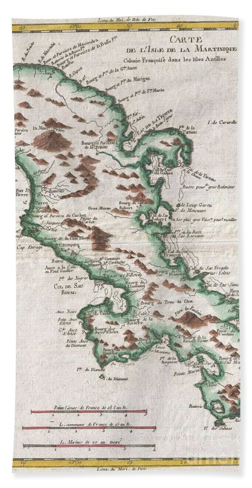 A Fine Example Of Rigobert Bonne And Guilleme Raynal's 1780 Map Of The Island Of Martinique. Highly Detailed Beach Towel featuring the photograph 1780 Raynal And Bonne Map Of Martinique West Indies by Paul Fearn