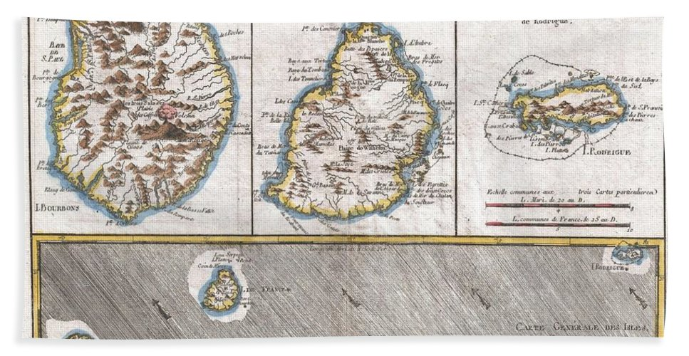 1780 Raynal And Bonne Map Of Mascarene Islands Beach Towel featuring the photograph 1780 Raynal And Bonne Map Of Mascarene Islands Reunion Mauritius Bourbon by Paul Fearn