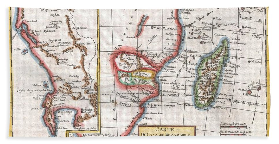 1780 Raynal And Bonne Map Of South Africa Beach Towel featuring the photograph 1780 Raynal And Bonne Map Of South Africa Zimbabwe Madagascar And Mozambique by Paul Fearn