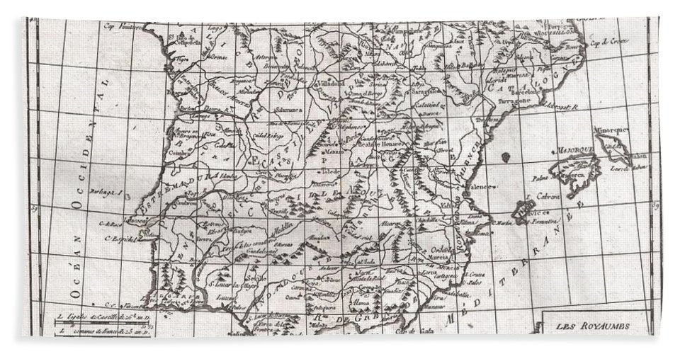 A Fine Example Of Rigobert Bonne And Guilleme Raynal's 1780 Map Of Spain And Portugal. Includes The Islands Of Ibiza Beach Towel featuring the photograph 1780 Raynal And Bonne Map Of Spain And Portugal by Paul Fearn