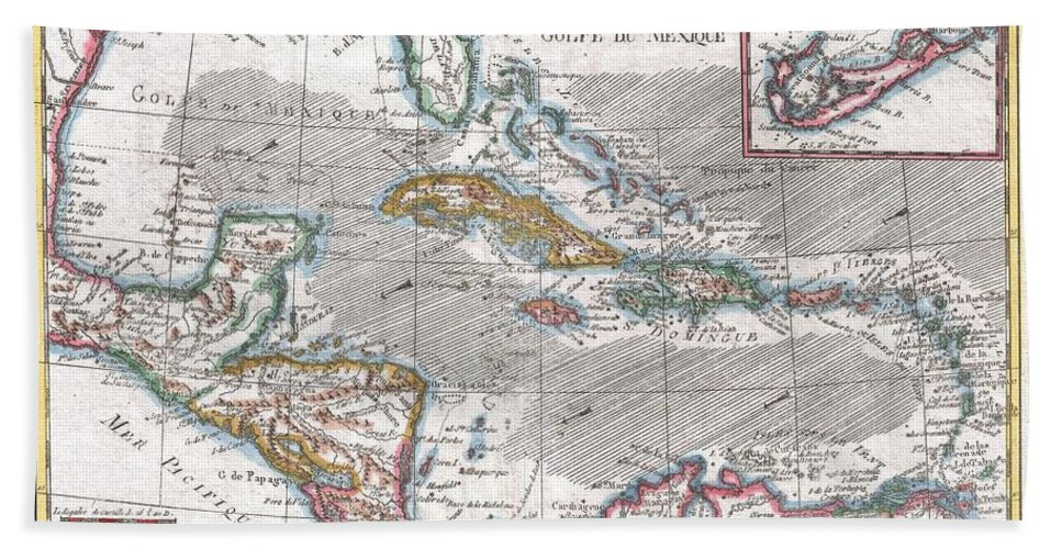 A Fine Example Of Rigobert Bonne And G. Raynal's 1780 Highly Desirable Map Of The West Indies Beach Towel featuring the photograph 1780 Raynal And Bonne Map Of The West Indies Caribbean And Gulf Of Mexico by Paul Fearn